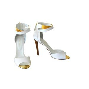 Sergio Rossi White Leather Gold Ankle Strap Sandal